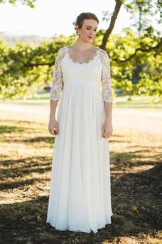 Vestido de novia Encaje Embarazadas Escote redondo Gasa Mangas Illusion