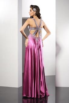 Vestido de fiesta largo Corte-A Sin mangas Corpiño Con lentejuelas Natural