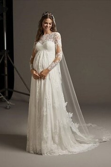 Vestido de novia Embarazadas Imperio Cintura Otoño Manga larga tul Imperio