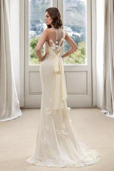 Vestido de novia Corte Sirena Natural Cola Barriba Flores Pura espalda