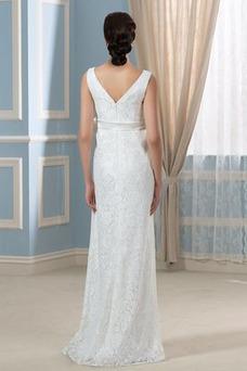 Vestido de novia Imperio Encaje Elegante Escote en V Arco Acentuado