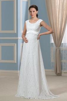 Vestido de novia Imperio Cola Barriba Moderno Escote redondo Encaje