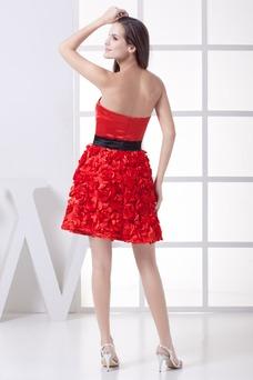 Vestido de cóctel Corte-A Flores Informal Verano Corto Sin tirantes