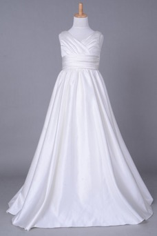 Vestido niña ceremonia Cola Capilla Blanco Invierno Sala Cremallera Blusa plisada