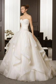 Vestido de novia vendimia Organza Sin mangas Iglesia Drapeado Hasta el suelo