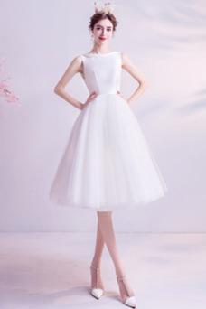 Vestido de novia Barco Botón Pura espalda Sin mangas Verano Corte-A