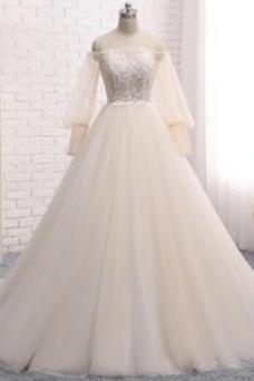 Vestido de novia vendimia Apliques Encaje Natural Corte-A Escote con Hombros caídos