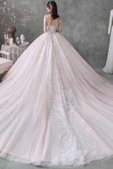 Vestido de novia Invierno Apliques Cordón Barco Cola Real tul