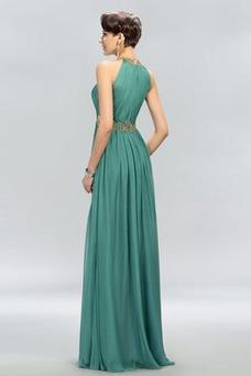 Vestido de noche Elegante Gasa Otoño Natural Hasta el suelo Escote con cuello Alto