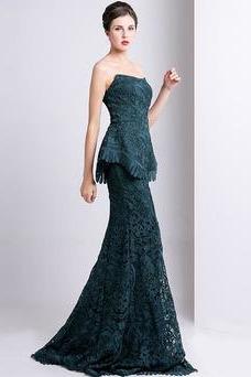Vestido de noche Moderno Sin mangas Cremallera Corte Sirena Encaje Natural