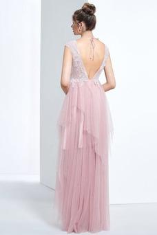 Vestido de fiesta primavera Moderno Escote en V Apliques Asimétrico Dobladillo