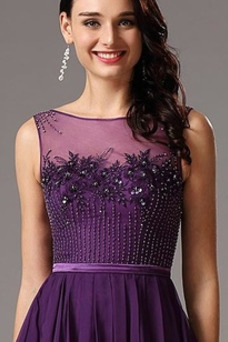 Vestido de noche Elegante Natural Abalorio Corte-A Sin mangas Triángulo Invertido