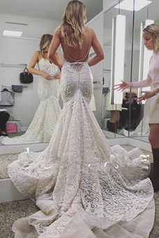 Vestido de novia Sala Escote de Tirantes Espaguetis Cola Corte Espalda Descubierta