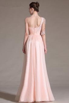 Vestido de noche Corte-A Asimétrico Estilo Hasta el suelo Elegante Cremallera