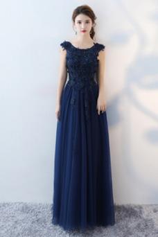 Vestido de dama de honor Capa de encaje Verano Formal tul Cordón Natural