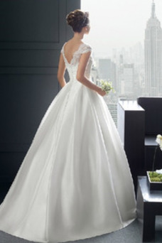 Vestido de novia Abalorio Satén Falta Capa de encaje Manga tapada Barco