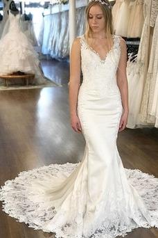 Vestido de novia Baja escote en V Corte Recto Natural Invierno Capa de encaje