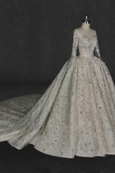 Vestido de novia Manga larga Corpiño Acentuado con Perla Mangas Illusion