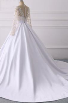 Vestido de novia Corte-A Mangas Illusion Natural Pura espalda Manga larga