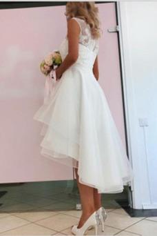 Vestido de novia Asimètrico Joya Fuera de casa Falta Alto Bajo Glamouroso
