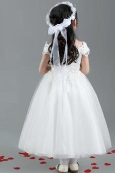 Vestido niña ceremonia Encaje Falta Natural Corte-A Manga corta Satén