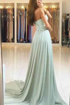 Vestido de noche Corte-A Encaje Formal Encaje Natural Cola Barriba