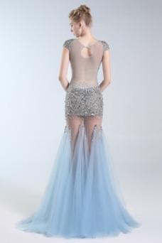 Vestido de fiesta sexy tul Abalorio Tallas pequeñas Pura espalda Corte-A