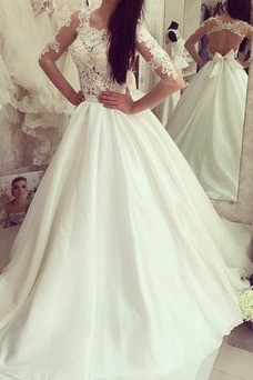 Vestido de novia Manga larga Espalda con ojo de cerradura Apliques Satén