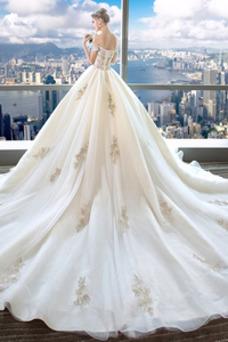 Vestido de novia Escote con Hombros caídos Falta Bordado Manga tapada