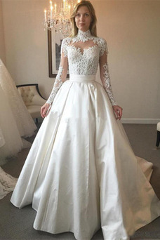 Vestido de novia Escote con cuello Alto Satén Natural Sala largo Manga larga