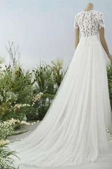 Vestido de novia Encaje Corte-A Joya Hasta el suelo Cremallera tul