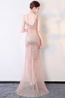 Vestido de fiesta Cremallera Transparente Escote en V Estrellado Natural