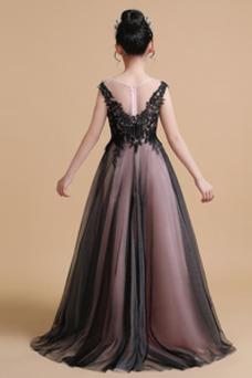 Vestido niña ceremonia Elegante Falta Natural Capa de encaje Corte-A Encaje