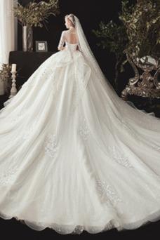 Vestido de novia Invierno Corte-A Manga de longitud 3/4 Escote redondo
