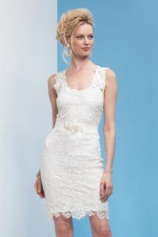 Vestido de novia Alto cubierto Natural Encaje Informal Escote redondo