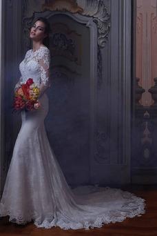 Vestido de novia Barco Sala Natural Mangas Illusion Otoño tul