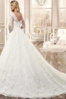 Vestido de novia Espalda medio descubierto Bola Natural Apliques Sala