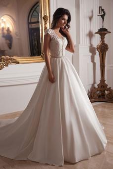 Vestido de novia Clasicos Cristal Satén Iglesia Corte-A Manga tapada