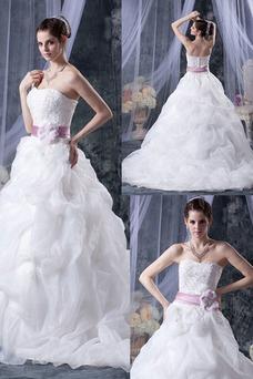 Vestido de novia Sin tirantes Corte-A Iglesia largo Sin mangas Encaje