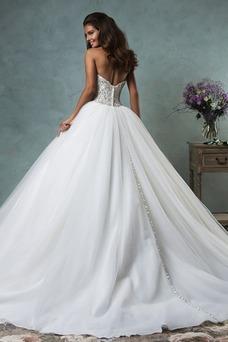 Vestido de novia Botón tul Cola Capilla Sala Bola Escote Corazón