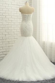 Vestido de novia Elegante Capa de encaje Apliques Sin mangas Corte Sirena