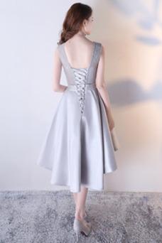 Vestido de cóctel Asimétrico Dobladillo Encaje Joya Asimètrico Natural