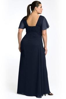 Vestido de noche largo Escote Cuadrado Imperio Cintura Blusa plisada