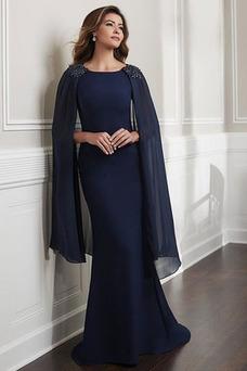 Vestido de madrina Natural Romántico Abalorio Alto cubierto Sin mangas