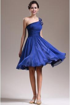 Vestido de dama de honor Corte-A Un sólo hombro Gasa Corto Espalda medio descubierto