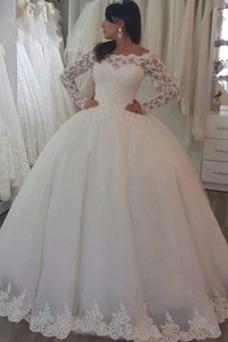 Vestido de novia Hasta el suelo Triángulo Invertido Botón Manga larga