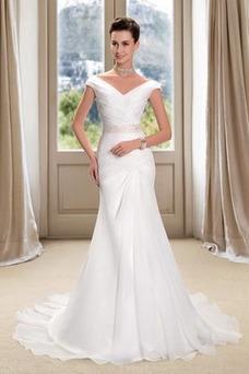 Vestido de novia Playa Cremallera Drapeado Pera Escote en V Corte Recto