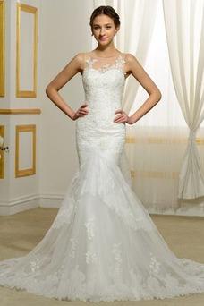 Vestido de novia Playa Invierno Barco Natural largo Tallas pequeñas