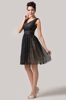 Vestido de fiesta Hasta la Rodilla Verano Corte-A tul Cremallera Plisado