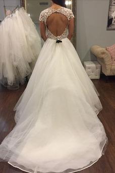 Vestido de novia Moderno Capa Multi Abalorio Camiseta Manga corta Fuera de casa
